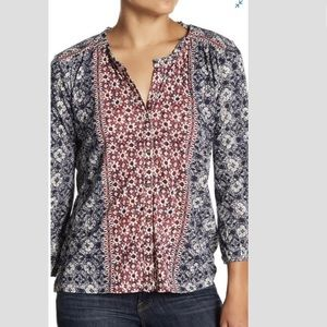 Lucky Brand 3/4 Sleeve Blouse Floral Print